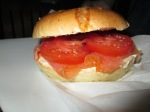 Smoked salmon and tomatoes on a cheese bagel.  Photo by: Diana O'Gilvie