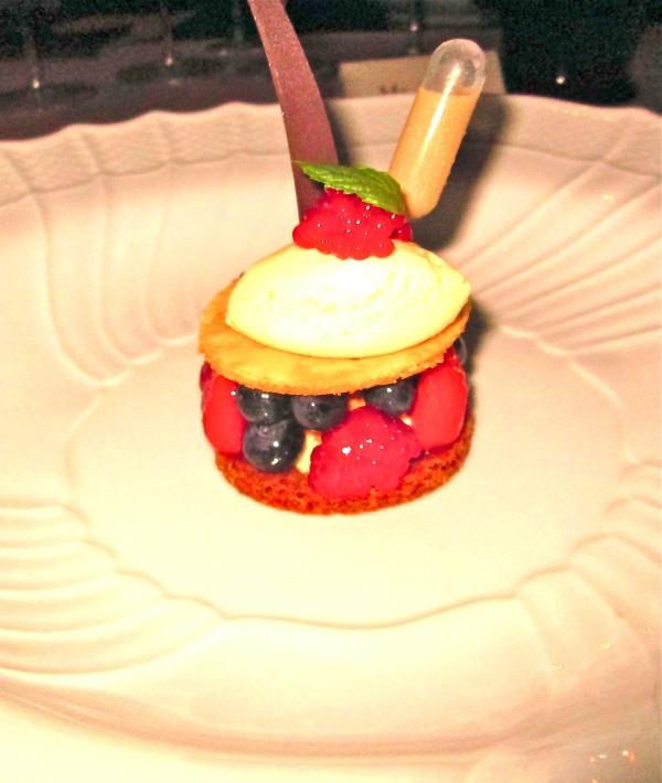 Raspberry caviar desert.