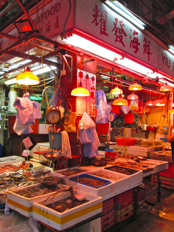 "Seafood market.  The Chinese say they like to buy their seafood ""still swimming.""  Photo by: Diana O'Gilvie"