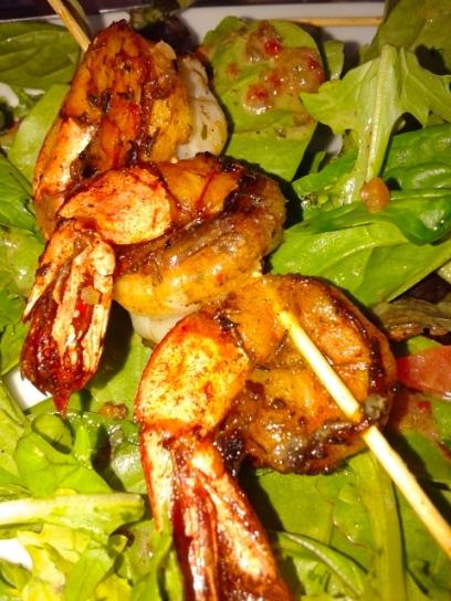Jerk Shrimp Salad at Mr. Grouper's.  Photo by: Diana O'Gilvie