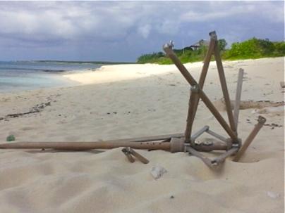 Old beach umbrella on Malcolm Beach.   Photo by: Diana O'Gilvie